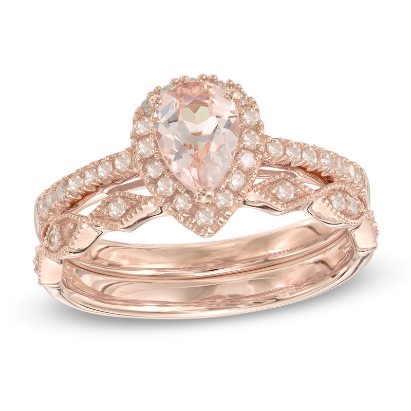 Your Stone Your Story™ Pear,Shaped Morganite and 1/4 CT. T.W. Diamond Frame  Vintage,Style Bridal Set in 14K Rose Gold